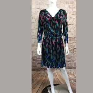 Tibi New York Dress 8 Long Sleeve Purple Black